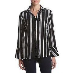 Relativity® Stripe Print Button Down Blouse