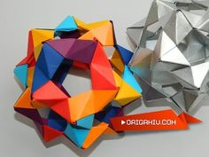 Origami Bucky Ball - Dodecahedron (30 PHIZZ Units) - Origami Flower Ball - YouTube