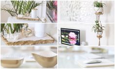 DIY Desk + Home Office Decor Ideas. My favorite of the projects in this video is the double macrame' plant hangers - starts at 9:23.