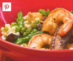 Shrimp, Mushroom and Asparagus Stir Fry with Couscous