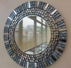Stunning Round Silver Chrome Grey & Black  Glass Handmade Mosaic  Mirror