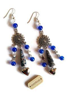 Boucles d'Oreilles Coeurs et Soleils - Perles en Papier - Perles en Verre - Grises Bleues : Boucles d'oreille par cap-and-pap