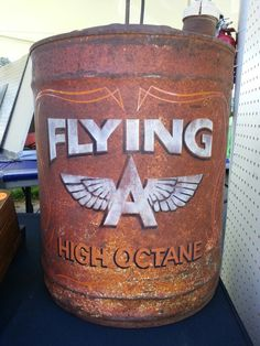Flying A painted on an old gas can.  Very cool