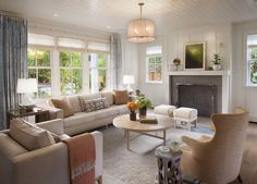 Contemporary meets cottage in this relaxed living room by Modern Organic Interiors.