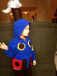 Thomas the Tank Engine Halloween costume out of a wal-mart hooded sweatshirt.  So cute!