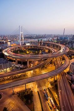 Nanpu Bridge, in Shanghai, China  is mostly a large cable-stayed structure of a type that, while impressive, is also common enough. What makes it interesting are its approach ramps, that are shaped like giant overlapping spirals.