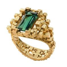 Sea Green Tourmaline Ring   From a unique collection of vintage cocktail rings at https://www.1stdibs.com/jewelry/rings/cocktail-rings/
