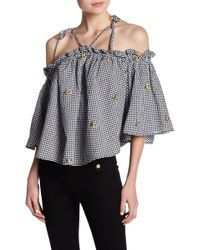 9a3f5d8dd3eaac Romeo and Juliet Couture - Cold Shoulder Ruffle Blouse - Lyst Shirt  Embroidery