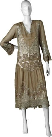 Probably American maker,  after a French design  Dress, ca. 1919  Silk; chiffon with lace inserts