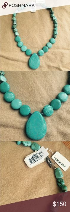 Gorgeous Turquoise Sterling silver necklace Absolutely Gorgeous. 100% Genuine Turquoise. Sterling silver. New never worn. Tags are still attached. From Macy's fine jewelry department. No box but will ship with care :) truly an amazing piece. Would make a statement at a Christmas party ❤️ Retail $230 plus taxes. Macy's Jewelry Necklaces