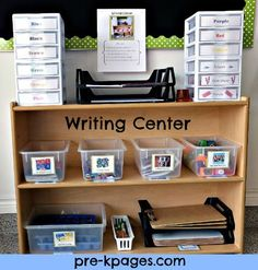 I really like this set up for a writing center. Ideas include: cutting practice, labeled plastic drawers for supplies, ice cube trays for alpha stamps, dry erase boards, alpha punches, clip boards, stapler, and more.  How to set up a writing center in preschool or kindergarten via www.pre-kpages.com