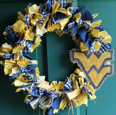 WVU West Virginia themed 15 inch Shabby Rag wreath in Blue and Gold on Etsy, $19.99