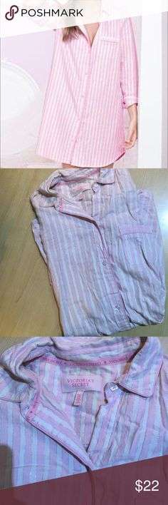 Victoria Secret Long sleep shirt Victoria Secret long sleep shirt! Pink & white stripes with silver detail stripes and accent pocket. Buttons all the way down. Knee length! So soft & comfy! Victoria's Secret Other