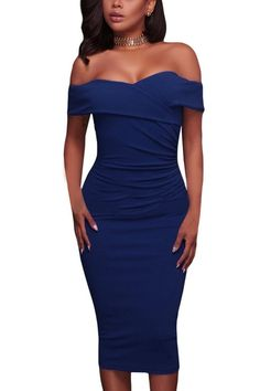 e0f1af81850e Royal Blue Ruched Off The Shoulder Bodycon Formal Midi Dress