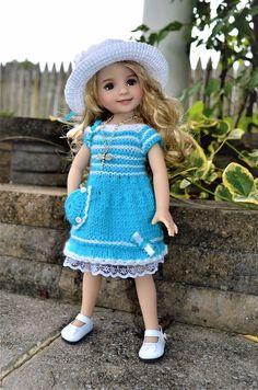 "Dianna Effner 13"" Little Darling OOAK Hand Knit 3pc OUTFIT for Summer Wear #DiannaEffner"