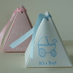 These personalized pyramid favor boxes have a one-of-a-kind shape that can turn ordinary wedding favors into extraordinary delights. Also great for baby showers and birthday parties. Baby Shower Favors, Baby Shower Parties, Baby Boy Shower, Baby Shower Gifts, Baby Gifts, Shower Party, Baby Showers, Sprinkle Party, Kids Party Themes