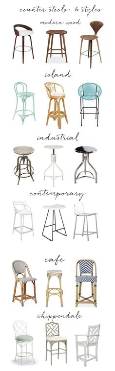 counter stools in six different styles