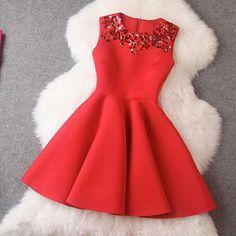 2017 New European Style Vestidos Summer Dress de festa Casual Slim Space Cotton Sequin Slim Thin Red Dress Women Dress Femininos Mini Skater Dress, Sequin Mini Dress, Skater Skirt, Cute Dresses, Short Dresses, Formal Dresses, Mini Dresses, Dresses 2016, Sleeveless Dresses