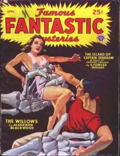 Famous Fantastic Mysteries 40 Grabbed by giant skeleton hands