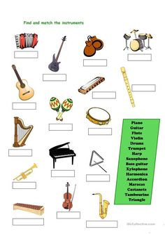 Instruments - English ESL Worksheets for distance learning and physical classrooms Elementary Music Lessons, Music Lessons For Kids, Music Lesson Plans, Music For Kids, Music Activities For Kids, Music Classroom, Physics Classroom, Music Worksheets, Piano Teaching