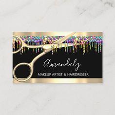 Hair Stylist Hairdresser Holograph Drips Scissors Business Card Salon Business Cards, Hairstylist Business Cards, Makeup Artist Business Cards, Business Card Size, Professional Business Cards, Unicorn And Glitter, Modern Tools, Makeup Salon, Wedding Event Planner