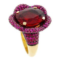 PAOLO PIOVAN Gold Tourmaline and Ruby Ring 1