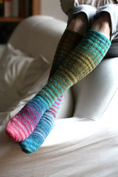 hellosmitten:Noro striped kneehigh socks     http://www.flickr.com/photos/villapeikko/2953847895/in/photostream/