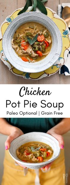 Perfect for a weeknight meal! Paleo crust ins… Savory, rich chicken pot pie soup! Perfect for a weeknight meal! Chicken Pot Pie Soup Recipe, Healthy Chicken Pot Pie, Chicken Recipes, High Protein Vegetarian Recipes, Healthy Weeknight Meals, Soup Recipes, Easy Recipes, Cooking, Whole30