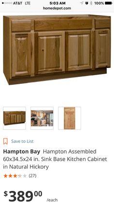 Best Hampton Bay 60X34 5X24 In Hampton Sink Base Cabinet In 640 x 480