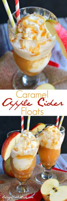 Apple cider has never tasted so good!  Poured over vanilla ice cream and topped with caramel and whipped cream, its the perfect fall treat!