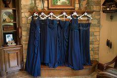 6 different David's Bridal Navy Blue Chiffon Dresses