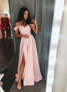 Cold Shoulders Prom Dress with Slit