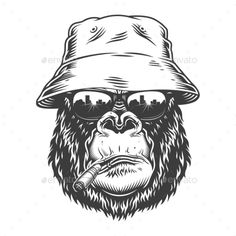 Gorilla Head in Monochrome Style #Head, #Gorilla, #Style, #Monochrome