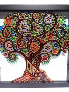 Tree of life art 13x13 Glass painting Glass art by CozyHome1
