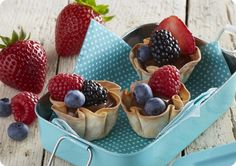 Driscoll's Berry Wonton Cups with Almond Butter and Nutella® www.driscolls.com