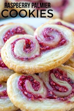 Delicious, easy and fun these Raspberry Palmier Cookies are made with puff pasty, fresh raspberries and sugar and baked up until golden. Easy Cookie Recipes, Cookie Desserts, Easy Desserts, Dessert Recipes, Cake Recipes, Dessert Dishes, Palmier Cookies, Puff Pastry Recipes, Pastries Recipes