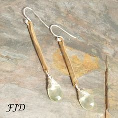 """Hammered Bronze, Prehnite and Sterling Silver Earrings - 1 - """"Styx' 