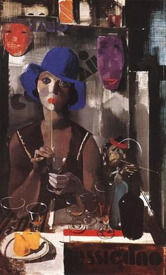 Aba-Novák, Vilmos (1894 - 1941)  Woman with Blue Hat  Date: 1930