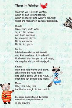Animals in winter * Elkes children& stories in winter - Elke Bräunling. Animals in winter. Do you fancy animal poems or a game with pantomime? Animal Poems, Kindergarten Portfolio, Snow Activities, Finger Plays, Winter Background, Winter Trees, S Stories, Kids And Parenting, Cute Animals