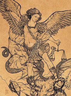 st michael line art St. Michael Tattoo, Archangel Michael Tattoo, Forarm Tattoos, Leg Tattoos, Sleeve Tattoos, Michael Angel, St Michael, Religious Tattoos, Religious Art