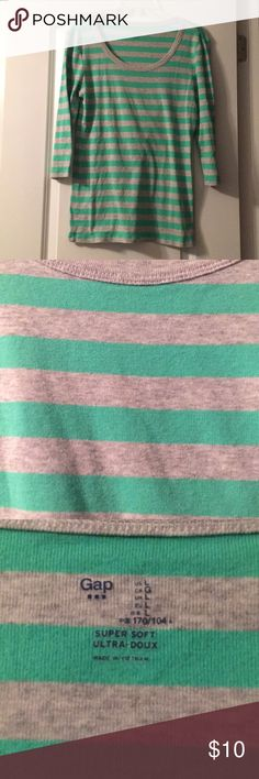 Striped GAP Top Striped 3/4 sleeve shirt from the GAP. Gray and aqua blue/green (more green). 60% cotton, 40% modal. GAP Tops
