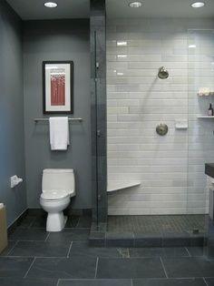 Grey And White Shower Room Gl Tiles Floor Tile