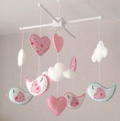 Baby mobile Cot mobile Bird Mobile Cloud Mobile by EllaandBoo