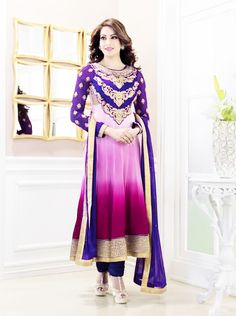 stunning purple and pink outfit with gold lining