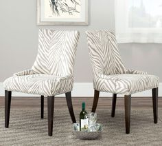 A Dining Chairs With Zebra Animal Accent