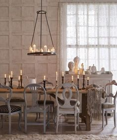 Eye For Design: Decorating With Mismatched Dining Room Chairs..... love this mismatched grey chairs, not so much on everything else