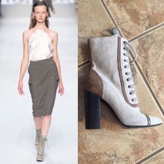 Max Mara Runway Booties Canvas with black heel. Gently used, slight scuff of the back of one. Can come off with leather cleaner. MaxMara Shoes