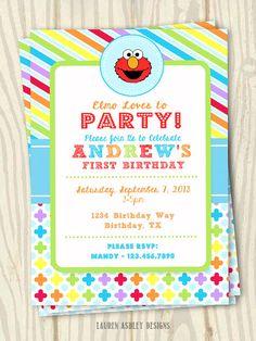 ELMO Theme Birthday Party Invitation - 5x7
