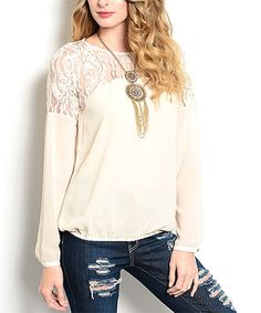 Look at this Cream Lace-Yoke Top on #zulily today!