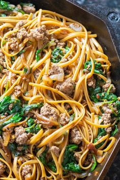 These Beef and Spinach Noodles are incredibly easy to make, ready in 30 minutes, packed with a ton of spinach, and a family favorite!  #groundbeef #noodles #easy #recipe #beefandspinachnoodles #beefnoodles